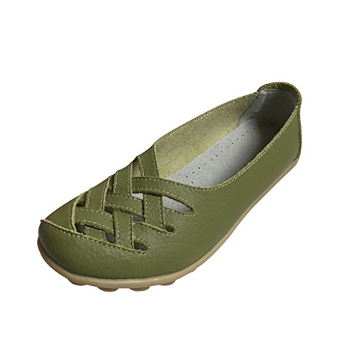 Estimadas Mujeres Time Slip On Hollow Out Pu Flats Verde Hierba