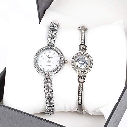 (Round Luxury Women Watch Crystal Rhinestone Diamond Watches Stainless Steel Wristwatch with Fashion Bangle)