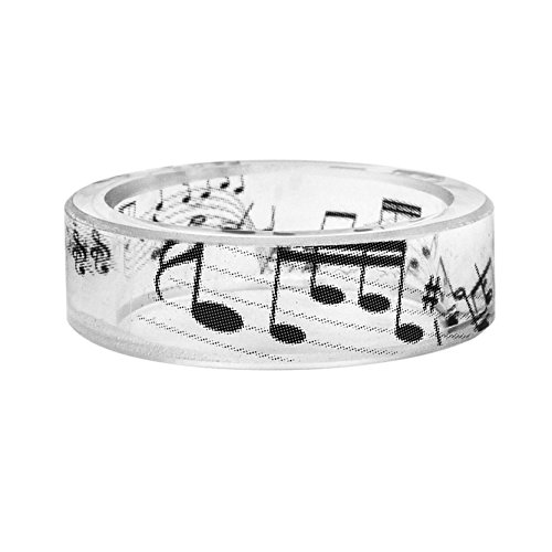 (New Arrival Handmade Musical Note Pattern Black and White Scenery Transparent Resin/Plastic Women/Men's Charm Ring (19mm/US#9))