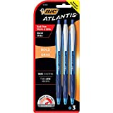 BIC Atlantis Bold Retractable Ball Pen, Bold Point (1.6mm), Blue, 3-Count