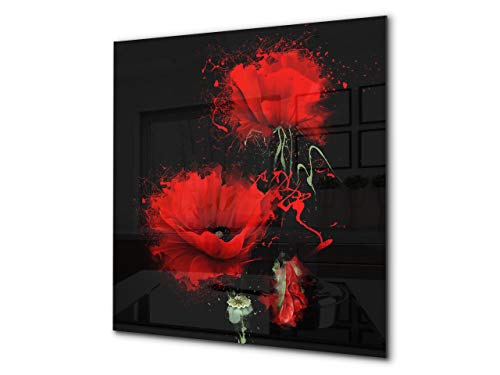 - Glass Kitchen backsplash - Tempered Glass splashback - Photo backsplash BS03 Flower Series: Red Flower 5