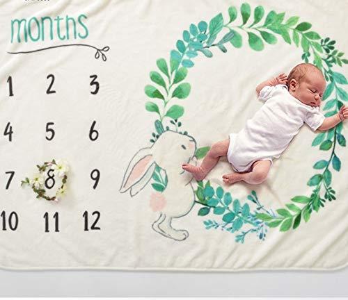 Baby Shower Gift:Newborn Baby Blanket Rabbit Easter Design Baby Girl Baby Boy Baby Milestone Fleece Blanket Photography Background Prop:Premium Quality