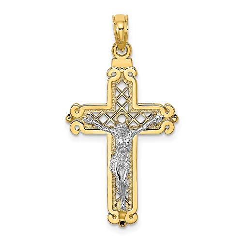 14K Religious Themed Crucifix On Lattice Religious Themed Cross with Scroll Tips