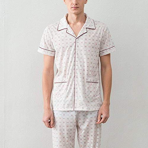 Piece Set Mens Summer Comfortable Young Long Sleepwear 2 Pajama Cotton Claret Pajamas 0naXA7A