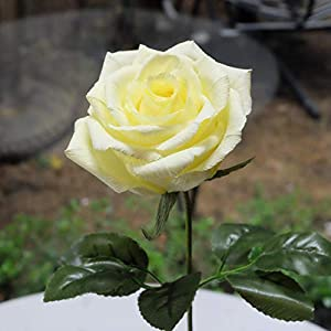 Yellow Paper Rose Handmade Realistic Artificial Flowers Unique Gifts For Her for Wedding Anniversary, Valentine Day, Mother's Day, Ideal for Home Wedding Party Decoration, 01 Single Long Stem 5