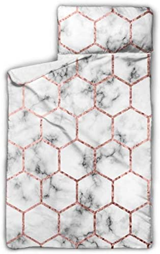 WYYWCY Vector Marble Rose Gold Hexagons Camping Sleeping Bag Kids Kid Sleeping Bags With Blanket And Pillow Rollup Design Great For Preschool Daycare Sleepovers 50