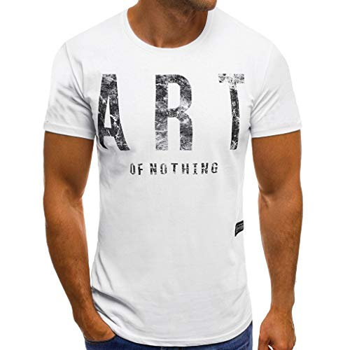 URIBAKE ⭐️ Men's O-Neck Short Sleeve Letter Print Comfortable Slim Fit Top T-Shirts White