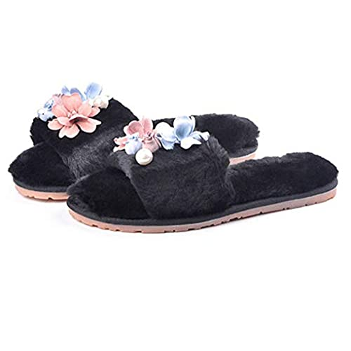 cheap Zarbrina Women's Single Strap Slip On Chic Floral House Fur Lined Comfy Furry Slippers for Spa Home Bedroom for cheap