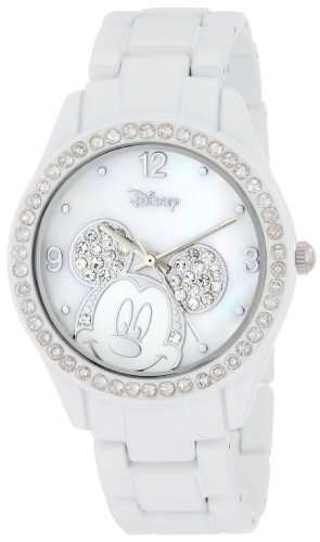 Disney Women's MK2106 Mickey Mouse White Bracelet Watch with (Analog White Mop)