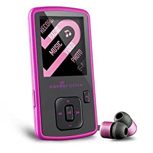 Energy Sistem Slim 3 - Reproductor MP4 con auriculares in-ear (4 GB, radio FM, micro SD), pink glow