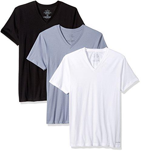 Calvin Klein Hombres de Tirantes de algodón Classics - 3 Pack Cuello en V Accenter - Multi - L: Amazon.es: Ropa y accesorios