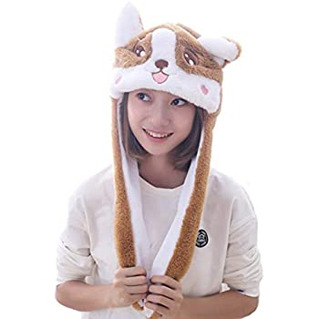Debbieicy Lovely Costume Props Plush Bunny Hat Cute Animal with Movable Ears-Ideal  Gift for Party and Celebrations (Corgi) 3e75abe401f6