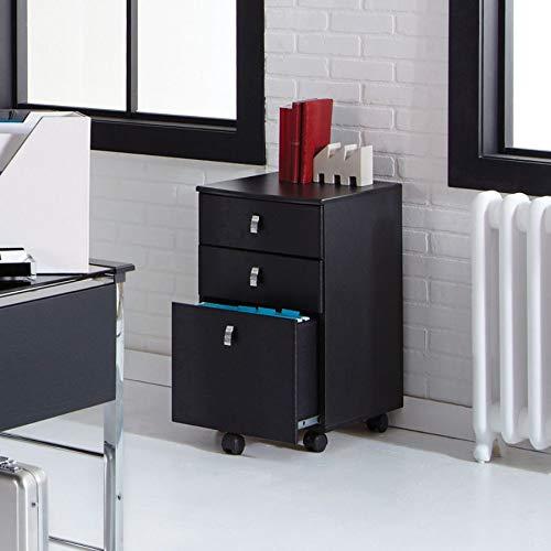 Realspace Mezza 19'' D 3-Drawer Mobile File Cabinet, Black/Chrome