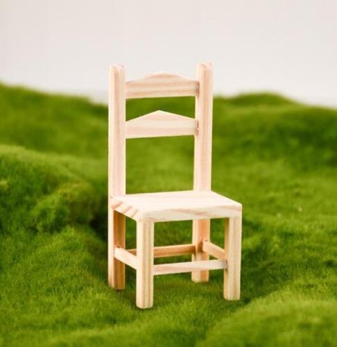 EatingBiting(R) 1/12 Dollhouse Miniature Doll Wooden Backrest Chair , 1:12 Dollhouse Miniature Furniture Garden Wooden Chair , DIY Chair Model Decoration for Your Doll House Vivid ()