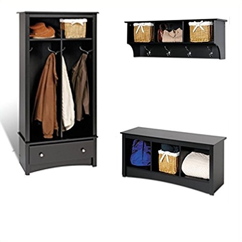 Prepac Black Sonoma Entryway Package With Cubby Bench , Coat