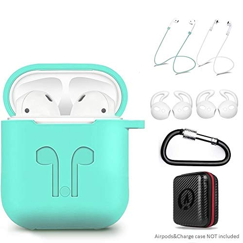 AirPods Case 7 in 1 Airpods Accessories Kits Protective Silicone Cover and Skin for Apple Airpods Charging Case with Airpods Ear Hook Airpods Staps/Airpods Clips/Skin/Tips/Keychain Green by Amasing