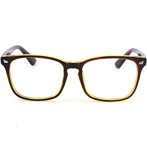 cadre Brown PE2 GQUEEN transparentes lunettes corne surdimensionné Gold clair Grand FxqZvx5