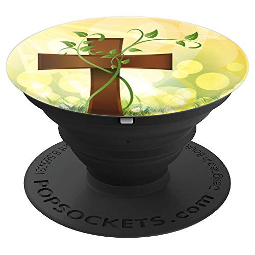 (Brown Cross With Green Vine Growing On Spring Background - PopSockets Grip and Stand for Phones and Tablets)