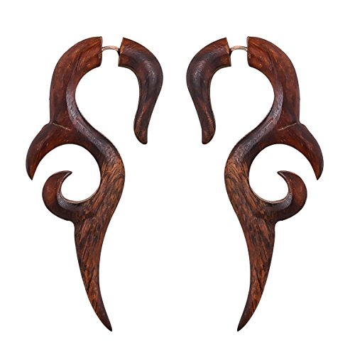 Crafted studio Womens Tibetan Antique Wooden Carved African Tribal Big Fake Gauge Earrings 2.7