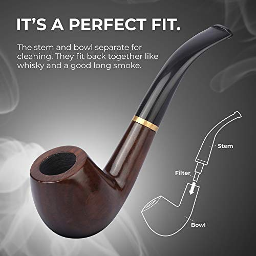 Tobacco Pipe   Pipes for Smoking Tobacco   Stylish, Cool and Distinguished Starter Pipe Kit   The Perfect Gift for a Classy Gentleman by Smokey Hollow Co by Smokey Hollow (Image #8)