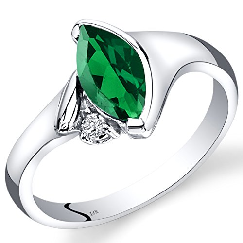 Peora 14K White Gold Created Emerald Diamond Ring Marquise Bezel Set 1.03 Carats Total