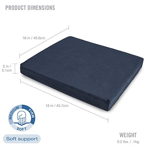 DMI Polyfoam Wheelchair Seat Cushion, Standard Foam Seat Cushion for Chairs, Adds Support, Comfort, Reduces Pressure and Stress on Back, Navy, 2 x 16 x 18 inches