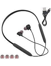 HERCHR Auriculares Bluetooth 5.0 inalámbricos para colgar en el cuello, auriculares deportivos, impermeables, color negro