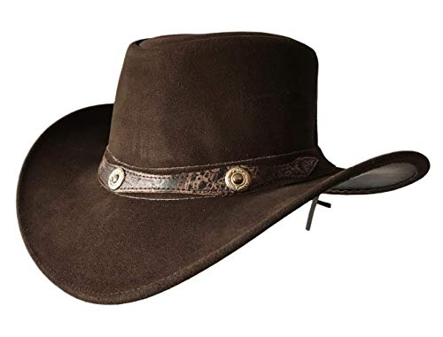 - Brandslock Mens Vintage Wide Brim Cowboy Aussie Style Western Bush Hat (Large, Brown)