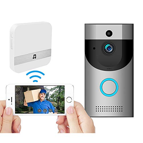 WiFi Wireless Video Doorbell Camera, IP65 Waterproof Doorbell 720P Wifi Cloud Storage Security Camera with Chime and Battery, Real-Time Video, Two-Way Talk, Night Vision, PIR Motion Detection