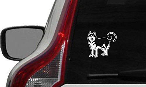 Dog Siberian Husky Version 1 Car Vinyl Sticker Decal Bumper Sticker for Auto Cars Trucks Windshield Custom Walls Windows Ipad Macbook Laptop Home and …