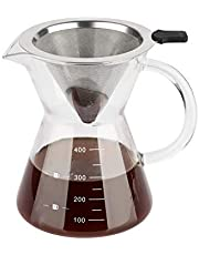 ComSaf Pour Over Coffee Maker with Stainless Steel Filter (400ml/14oz), Borosilicate Glass Carafe Manual Coffee Dripper Brewer with Handle, No Paper Filters Needed Hand Drip Coffee Maker