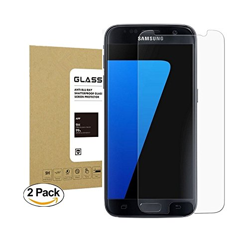 Galaxy S7 Tempered Glass Screen Protector,Halier [2 Pack] 9H Hardness [Anti-scratches] [Crystal Clear] [Bubble Free] Premium Screen Protector for Samsung Galaxy S7