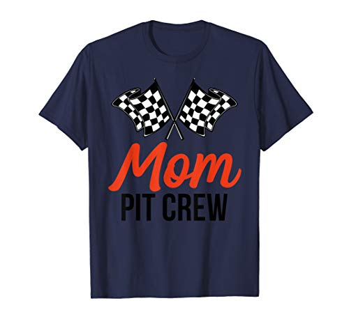 Mom Pit Crew | Funny Hosting Car Race Birthday Party T-Shirt ()