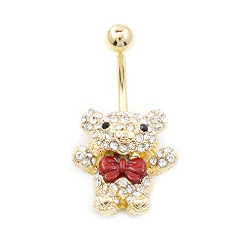 BodyJewelryOnline Navel Ring with Teddy Bear Design with Red Bow and Multiple Cz 14G Gold IP