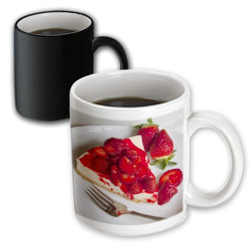 3dRose mug_146509_3 Strawberry Topped Cheesecake, Dessert Brian Jannsen Magic Transforming Mug, 11 oz, Black/White