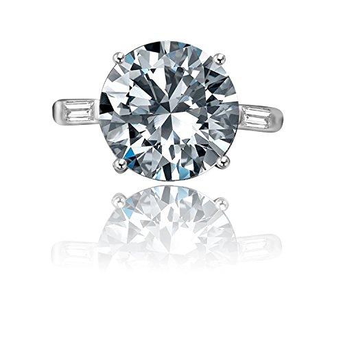 Diamond Veneer 3 CT.(9mm) Tiffany Style Round Center W/Tapered Side Baguette Diamond Ring (Rhodium, (Tiffany Round Ring)