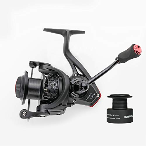 BLISSWILL Spin Fishing Reel Smooth Spinning Reel-Aviation Aluminum-Carbon Fiber Drag-12+1BB Powerful Spinning Reel Lightweight Ultra Smooth Powerful-with Free Spare Graphite Spool (Model 4000)