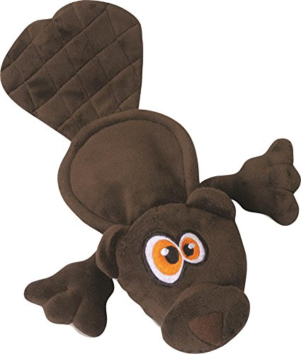 Hear Doggy Flattie Brown Beaver Ultrasonic Silent Squeaker Dog Toy