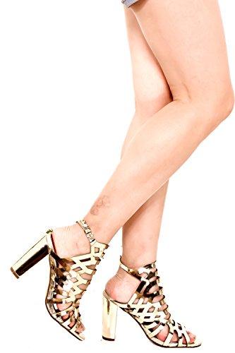 Dnd Anna Nubuck Peep Toe Accento Multi-ritaglio Aperto Cinturino Fibbia Tacco Alto Grosso Tacco Goldlucitepu-shirley-20