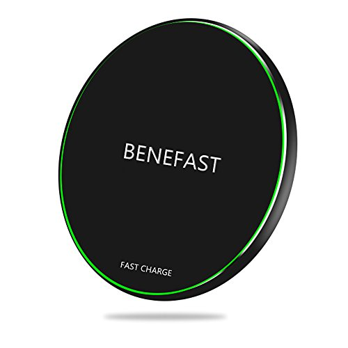 Wireless Charger, Benefast Ultra-Slim Fast Charging Pad with Cable,7.5W For Apple iPhone X/8/8 Plus, 10W For Samsung S6/S7/S8/S9 Edge + Note 5/8, 5W for All Qi enabled Phones