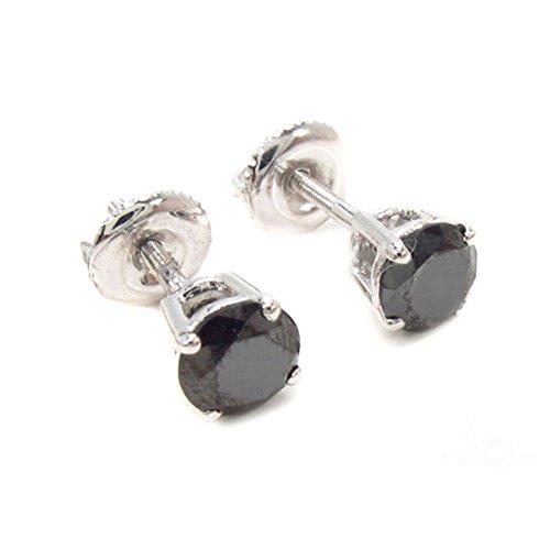 14K White Gold 1.00 Carat Genuine Round Cut Black Diamond Screw Back Earrings Set by Traxnyc