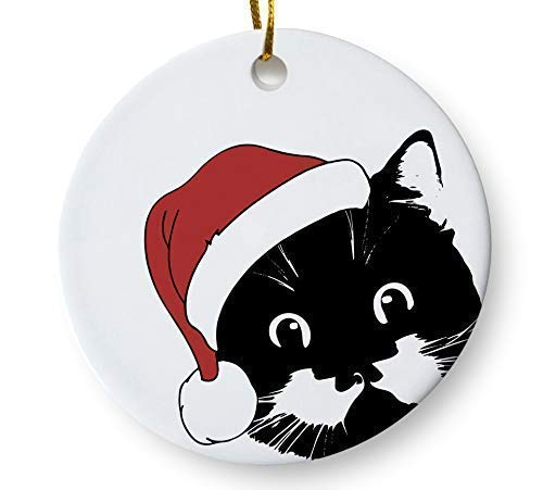 (Santa Cat Holiday Ornament, Christmas Cat Ornament, Cat Lover Christmas Ornament, 3