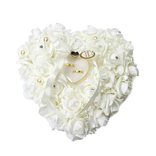 mossty Wedding Ring Pillow,Rose Heart Ring Box Wedding Accessories White Ring Pillow Wedding Lace Crystal by mossty (Image #6)