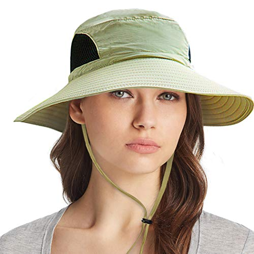 Ordenado Waterproof Sun Hat Outdoor UV Protection Bucket Mesh Boonie Hat Adjustable Fishing Cap Khaki (Best Sun Hat For Hiking)