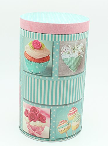 Pink and Blue Cupcake Design Canister (4.5 in X 7.5 in)