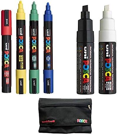 Pack 6 rotuladores POSCA + 1 estuche de regalo: Amazon.es: Oficina y papelería