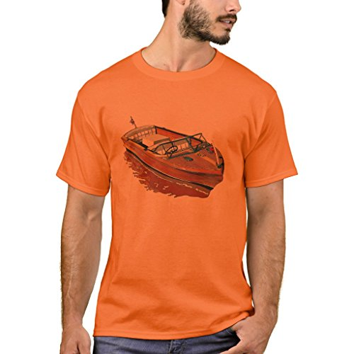 Zazzle Men's Basic T-Shirt, Chris Craft Continental T-Shirt, Safety Orange (Ad Chris Craft)