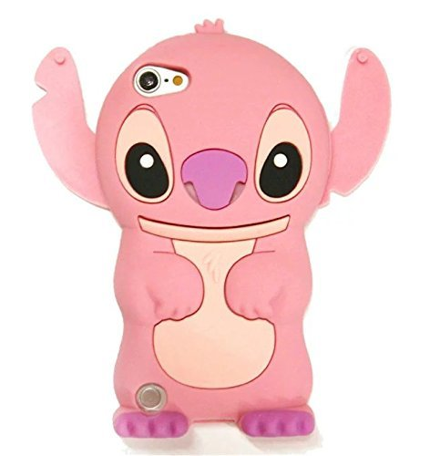 iPod Touch 5 Case,Apple iPod Touch 6 Silicone Case,Bat King 3D Cartoon Alien Dog pink Ears Silicon Gel Rubber Case Cover Skin for Apple iPod Touch 5/Touch 6 (Ipod Starbucks Case)