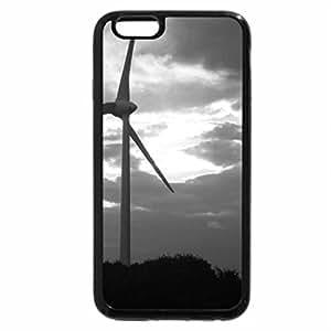 iPhone 6S Plus Case, iPhone 6 Plus Case (Black & White) - windturbine at sunset
