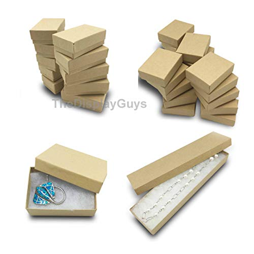 The Display Guys Pack of 25 Cotton Filled Cardboard Paper Kraft Jewelry Box Gift Case - Kraft (5 pcs Each of #11/#21/#32/#33/#82)
